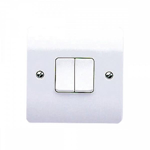 MK Electric Logic Plus K4872WHI 2 Gang 2 Way Single Pole Plateswitch 10A