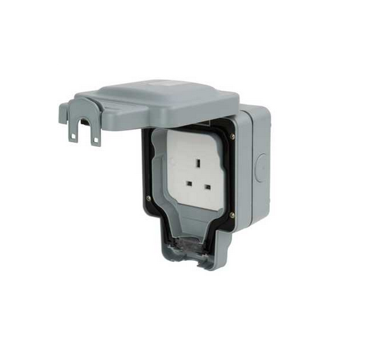 MK Electric Masterseal Plus K56480GRY 1 Gang Unswitched Socket IP66 13A in Grey