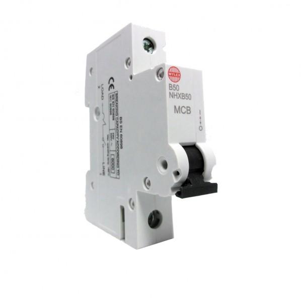 "Wylex NHXB50 50A 6kA Single Pole ""B"" Type NH Range MCB"
