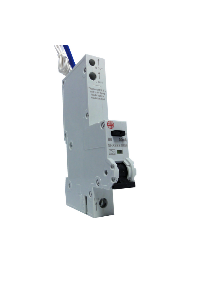 "Wylex NHXSBS1B06 6A 30mA Single Pole ""B"" Type NH Range RCBO"