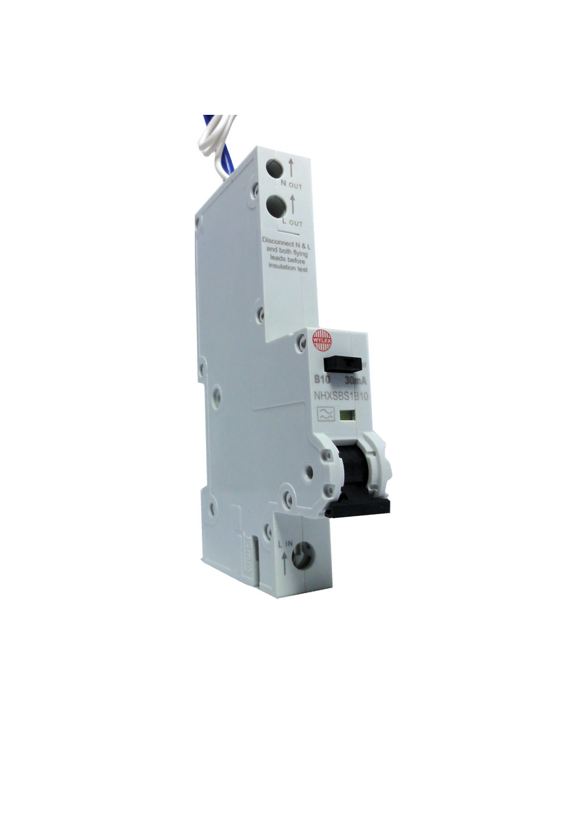"Wylex NHXSBS1B10 10A 30mA Single Pole ""B"" Type NH Range RCBO"