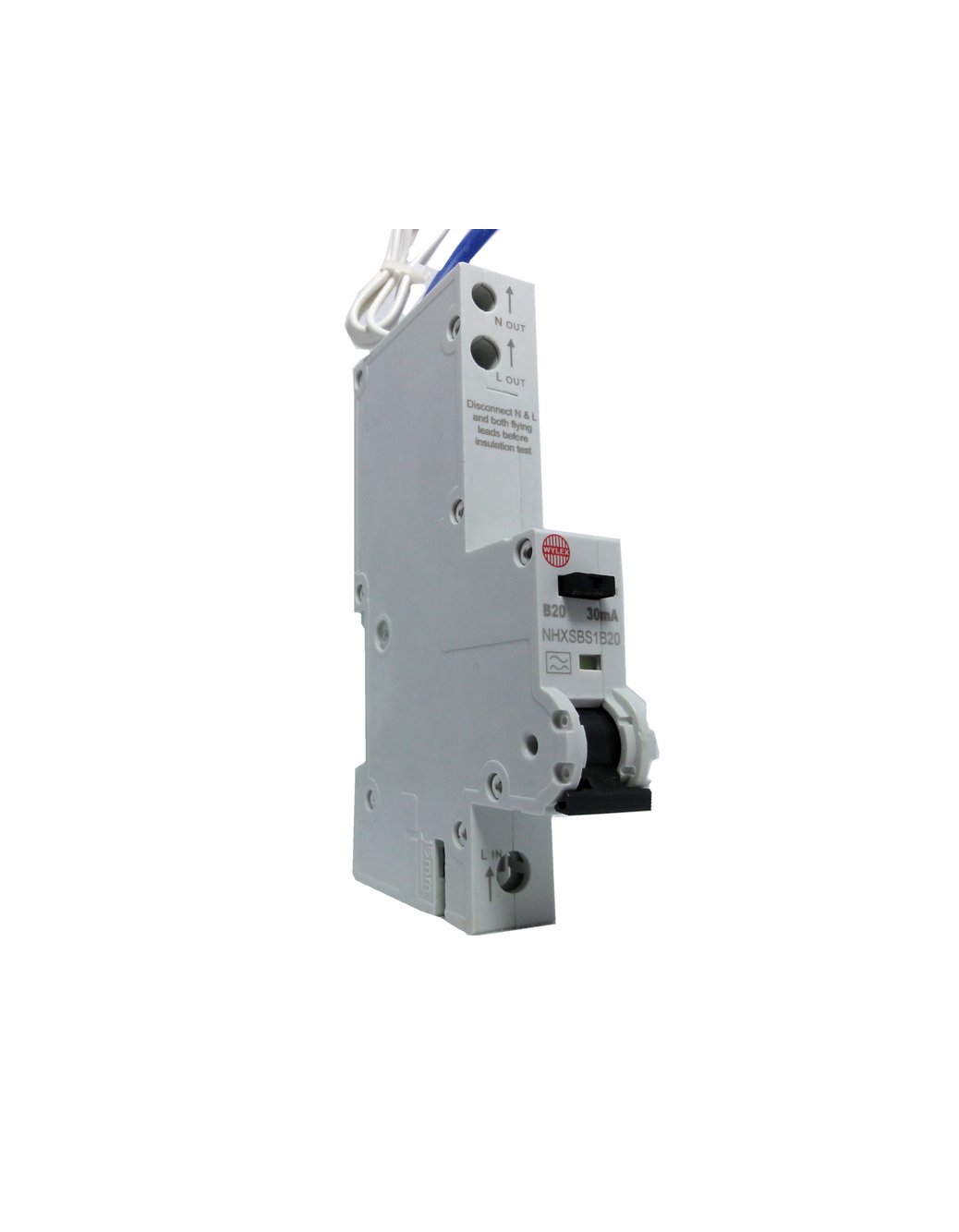 "Wylex NHXSBS1B20 20A 30mA Single Pole ""B"" Type NH Range RCBO"