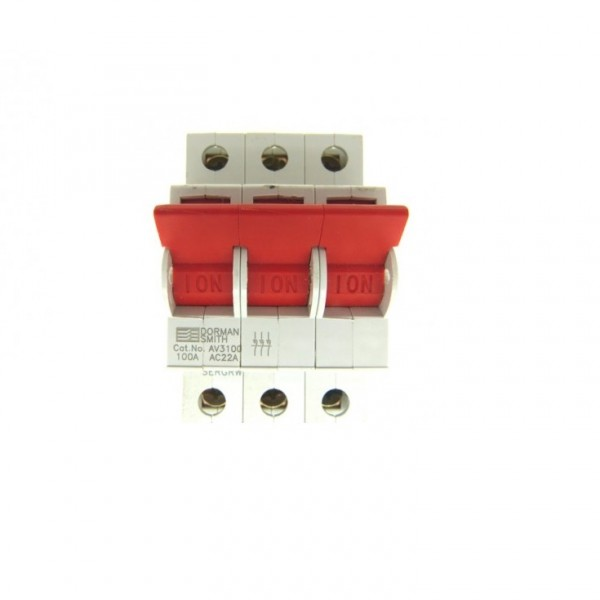 "Dorman Smith AV3100 Loadlimiter 63 AV3100 100A Triple Pole Switch Disconnector for ""B"" Type Distribution Boards"