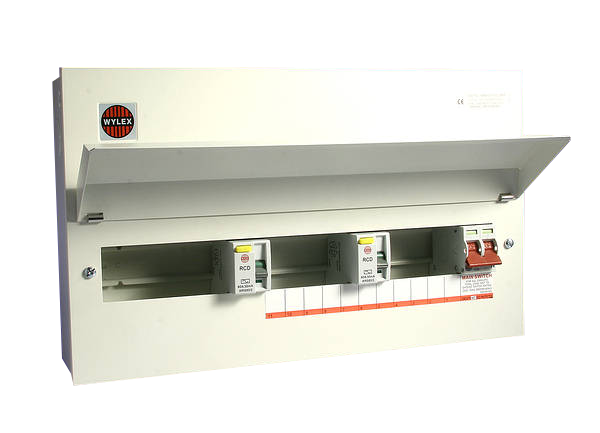 Wylex NMRS15SSLMHI 15 Way Consumer Unit, 100A DP Main Switch, Fully Flexible, Dual 80A 30mA RCD's