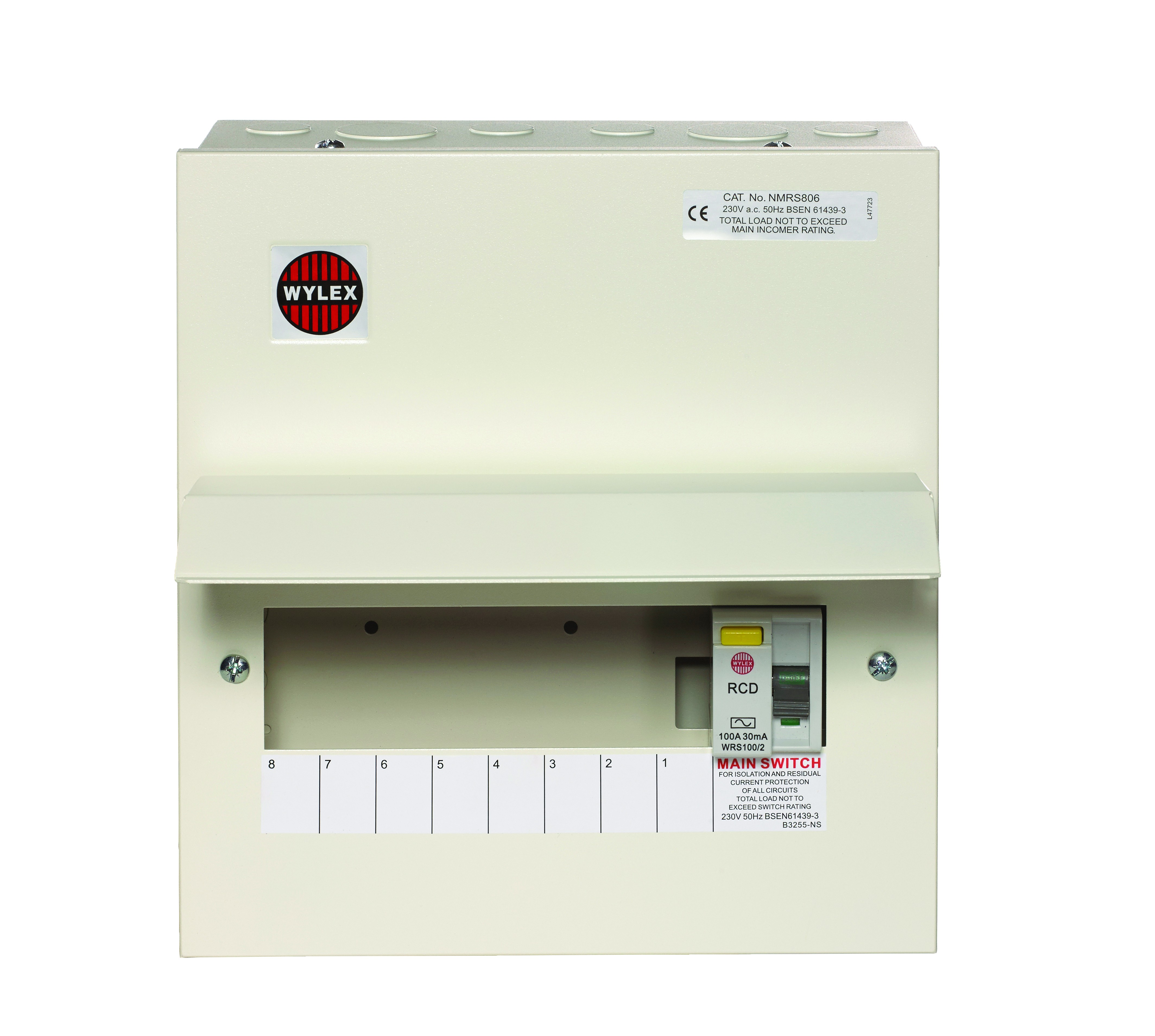 Wylex Nmrs806 8 Way Amendment 3 Metal Consumer Unit W 100a 30ma Rcd 2 Printer Switch With Incomer