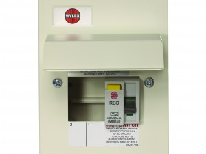 Wylex NMRS206/63 2 Way Amendment 3 Metal Consumer Unit w/ 63A 30mA RCD Incomer