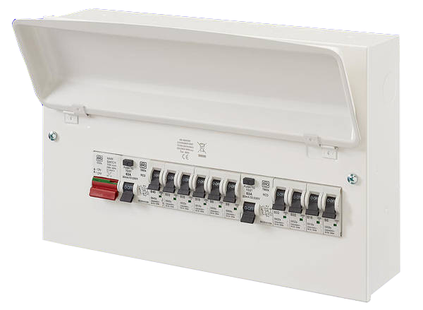 MK Electric K7666SMET Amendment 3 Consumer Unit 10 Way Surface cw 2x RCD & 10 x MCB