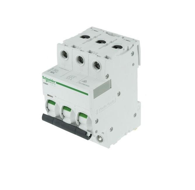 "Schneider Electric Acti9 A9F54363 63A Triple Pole ""C"" Type iC60H MCB (C60HC363)"