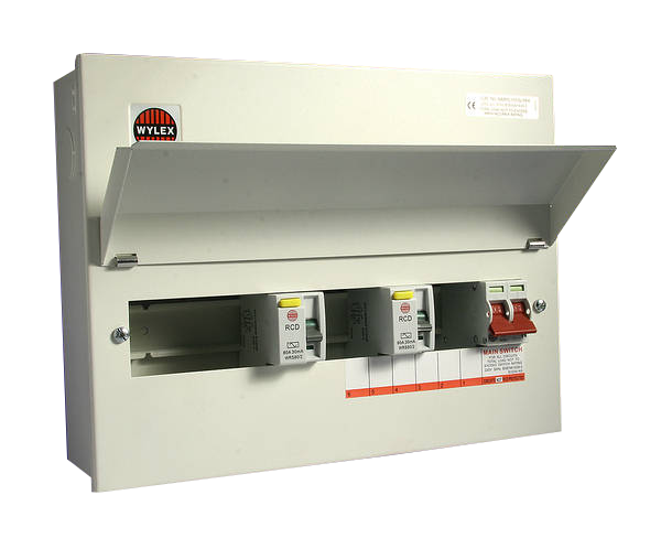 Wylex NMRS10SSLMHI 10 Way Consumer Unit 100A DP Main Switch, Fully Flexible, Dual 80A 30mA RCD's