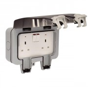 BG WP22 Outdoor Weatherproof Double Switched Socket Grey 13 Amp IP66