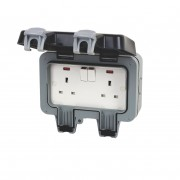 BG WP22 Outdoor Weatherproof Double Switched Socket Grey 13 Amp IP66 2