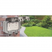 BG WP22 Outdoor Weatherproof Double Switched Socket Grey 13 Amp IP66 3