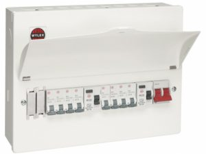 Wylex WNM1769 NM Series 18th Edition All Metal 10 Way Pre-Populated Twin 80mA RCD High Integrity Flexible Consumer Unit With 3x6A, 1x16A, 4x32A MCBs